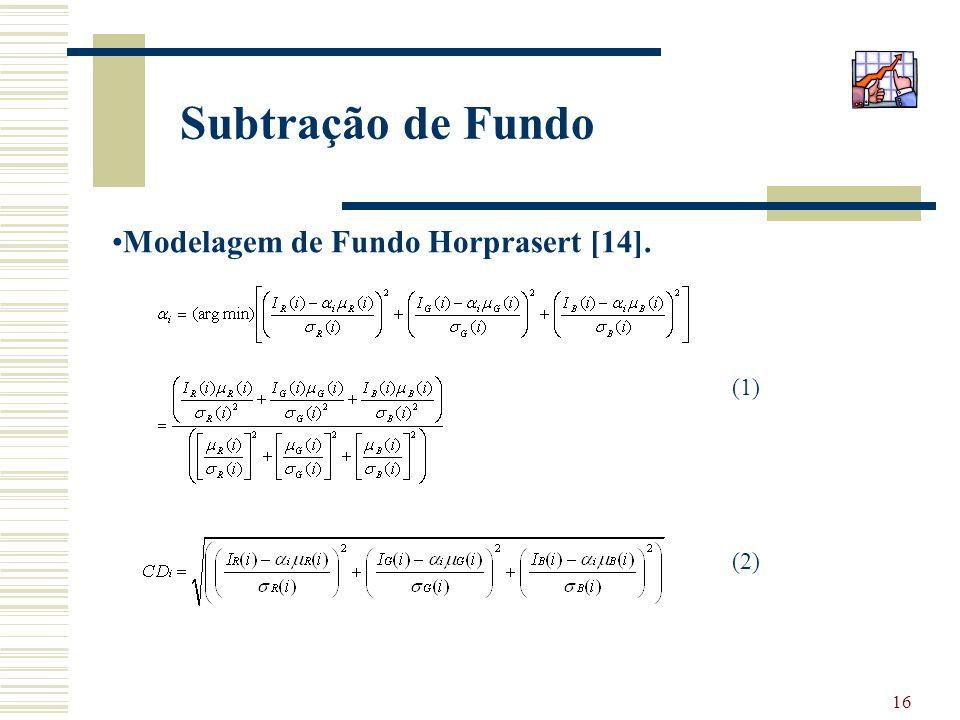 Subtração de Fundo Modelagem de Fundo Horprasert [14]. (1) (2)